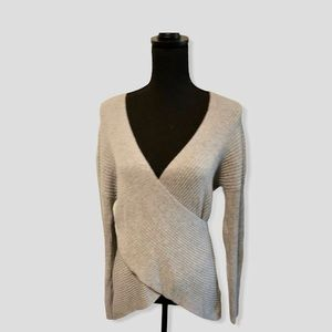 Topshop Gray Wrap Front Sweater Size 6